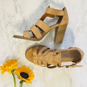 Apt. 9 lattice leather tan heeled sandals 9